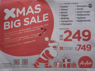 AirAsia's advertisement for tickets sale well after 31 March 2013 (see parts marked with arrow)