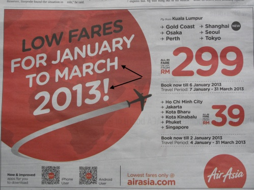 AirAsia advertisement on 17-12-2012 in The Star fro the period from 7 January to 31 March 2013. Indicated by arrow sign.
