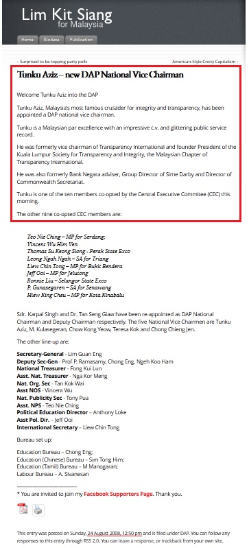 28-8-2008 YB Lim Kit Siang published the above in his blog