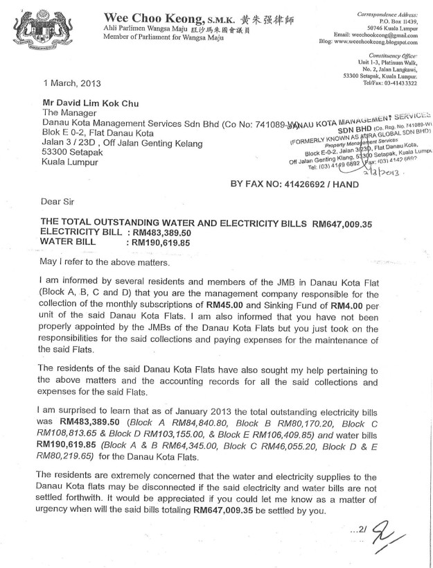 Letter dated 1-3-2013 to Mr David Lim Kok Chu