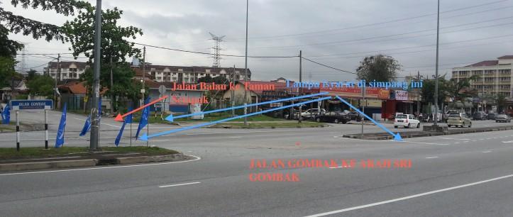 Simpang di Jlana Gombak dan Jalan Balau ke Taman Setapak