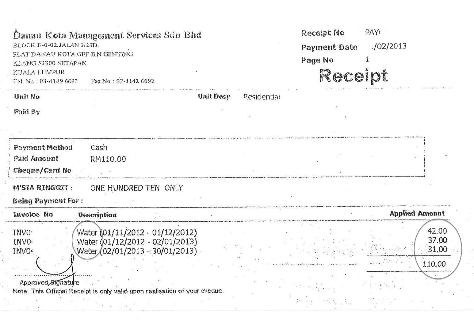 Doc12851660 Receipt for Payment Receipt For Payment – Paid Receipt