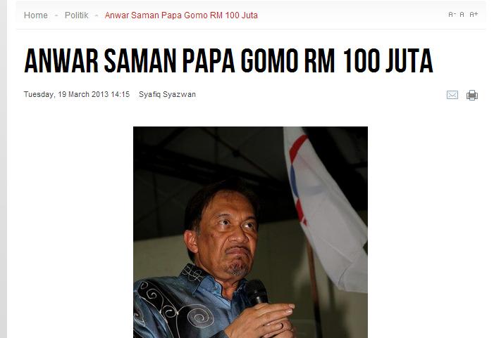 The RM100 million mega defamation suit filed.