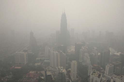 The hazy skylines of KL City.