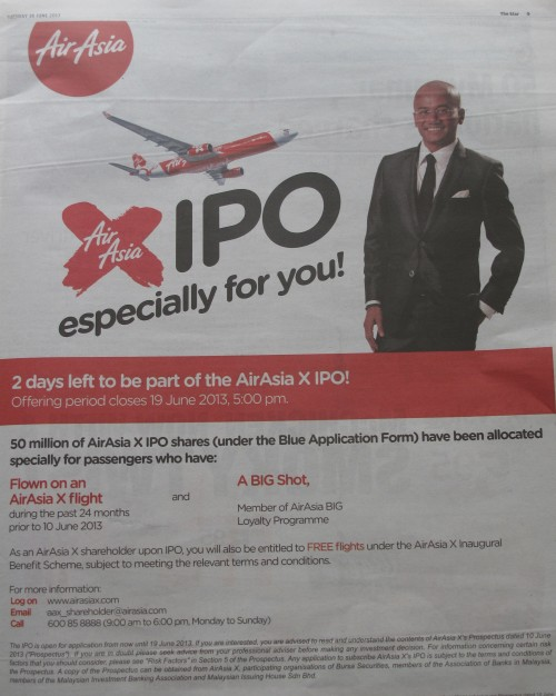 AAX IPO advert in Star 18-6-2013