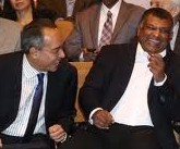 Two good friends were laughing away. Left: Daato' Seri Nazir Razak, the CEo fo Cimb Bank Group and Tan Sri Tony Fernandes of AirAsia Bhd and AirAasia X Sdn Bhd
