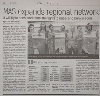 9-7-2013 MAS reinstate the Dubai route