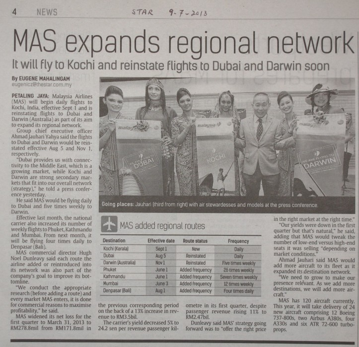 9-7-2013 MAS reinstate the Dubai route