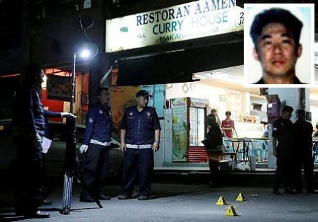 A man was gunned down in KK yesterday. Picture from NST