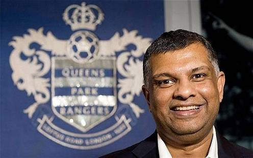 Tan Sri Tony Fernandes with QPR logo at the background.