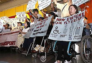 Disabled persons protesting against AirAsia a few years ago.