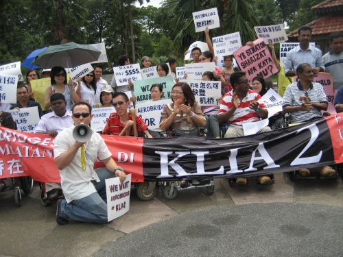 When Tan Sri Tony Fernandes said that AirAsia doesn't want aerobridges in KLIA2, the disabled persons made their stand.