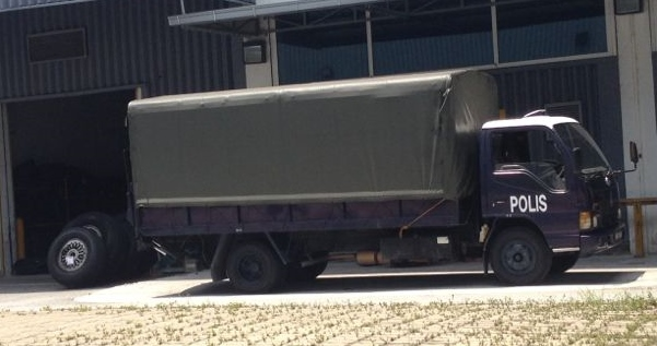 Police lorry was parked in the compound of MRO yesterday.