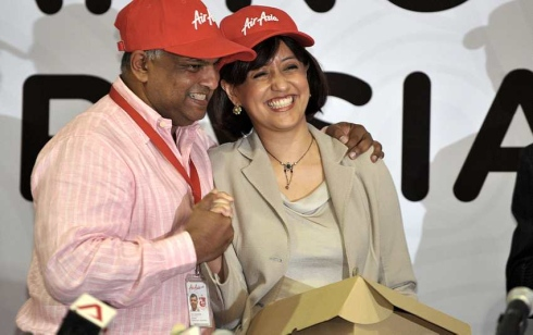 Left: Tan Sri Tony Fernandes, Group CEO of Air Asia and Ms Aireen Omar, CEO of AirAsia Bhd
