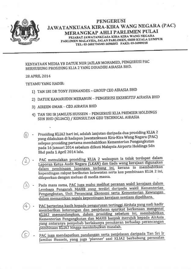 Page 1 of the pre-prepared press statement of the Chairman of PAC, YB Datuk Nur Jazlan.