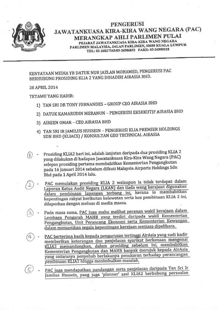 Page 1 of the well prepared press statement of the Chairman of PAC, YB Datuk Nur Jazlan.