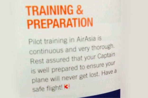 When MH370 went missing, this publicity material appeared in AirAsia inflight magazine.