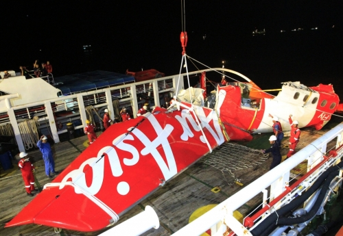 The wreckage of unauthorised AirAsia flight QZ8501.