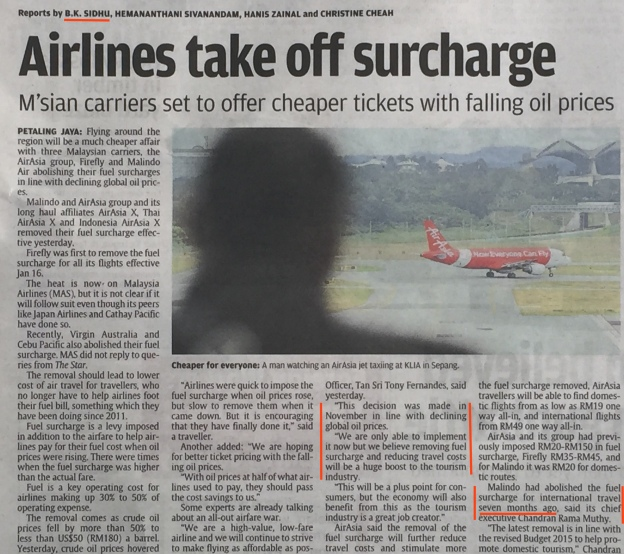 AIrlines reducing fuel surcharge