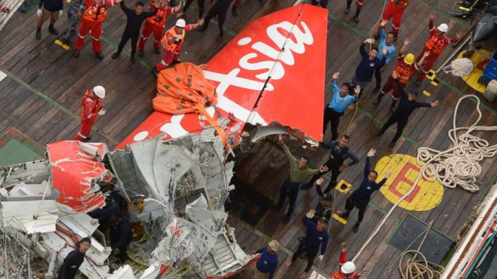 Part of the wreckage of the UNAUTHORIZED AirAsia's flight QZ8501