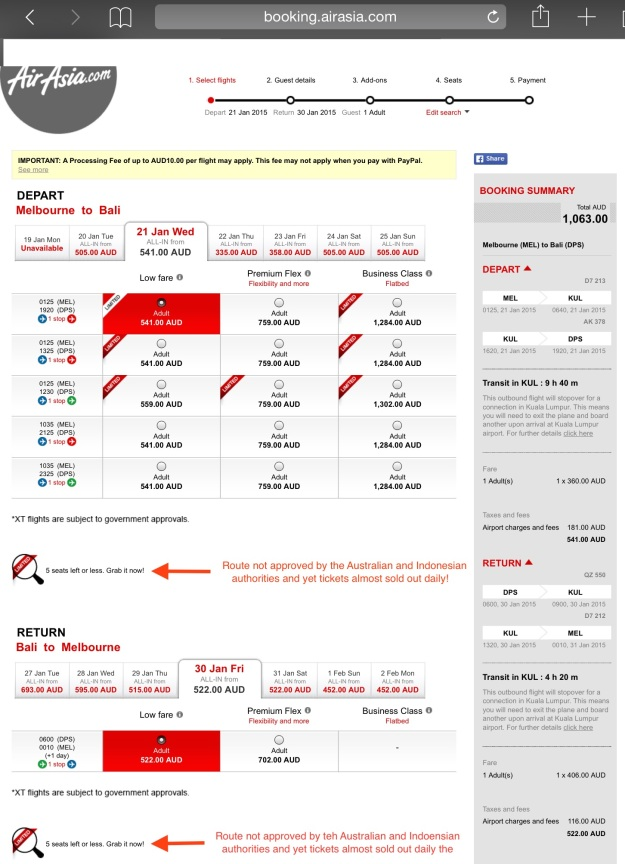 AirAsia booking page for Melbourne - Bali route, which was never approved by Australian and Indonesian authorities.