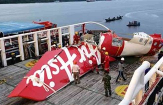 The wreckage of unauthorised AirAsia flight 8501.