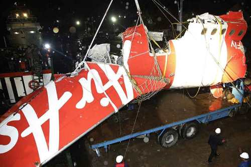 The wreckage of the unauthorised AirAsia's flight QZ8501.