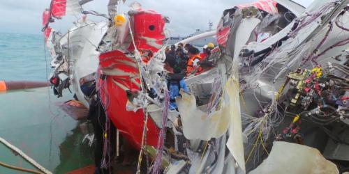 The wreckage of the Airasia X unauthorized flight 8501.