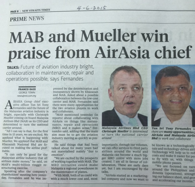 On 4-6-2015 Mr Mueller was accorded with praises from non other than Tony Fernandes, the guru of aviation industry in the world.