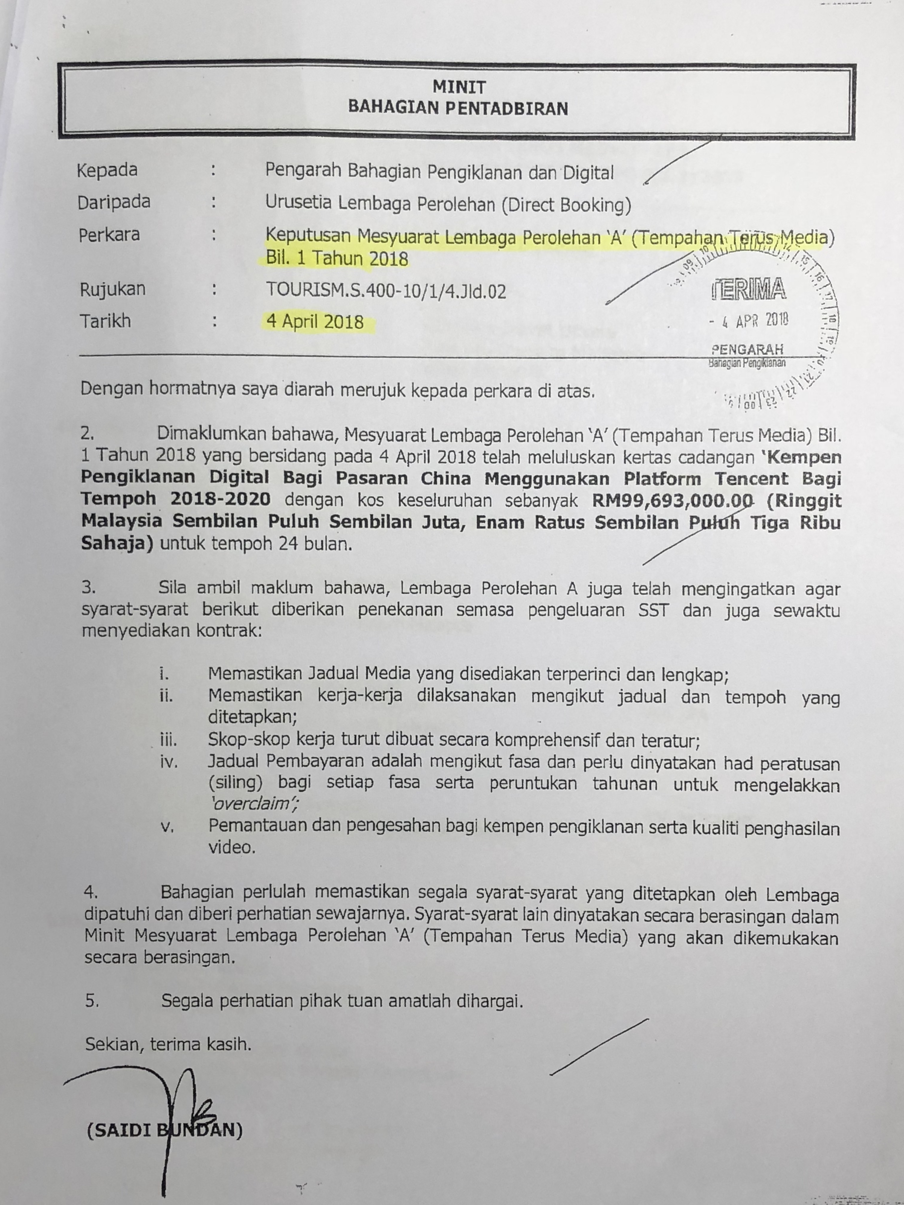 Summary Of Tourism Msias Rm99693 Million Speedy Gonzales Geeko Deal Ringgit Malaysia 4 2018 Memo From Bahagian Pentadbiran Tm